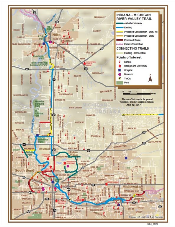 Indiana Michigan River Valley Trail Map 2017